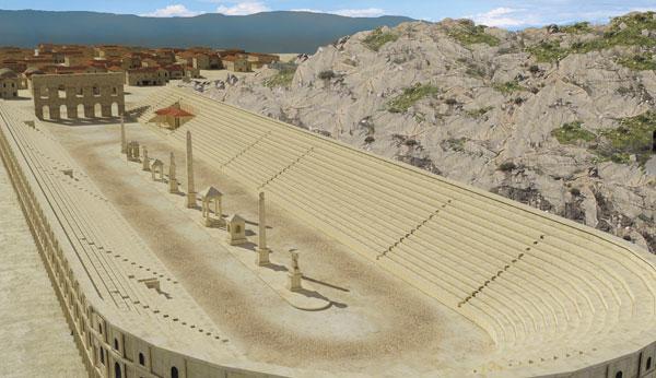 Илюстрация на  римският стадион в Филипопол