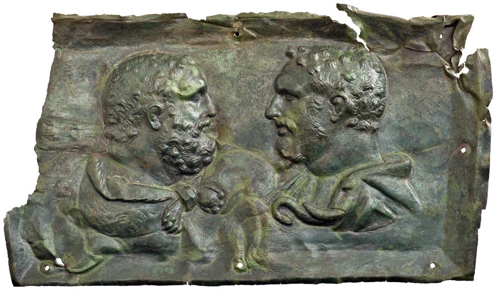 Херакъл и император Каракала са изобразени като равни на тази украса за колесница. Пловдивски Археологически музей