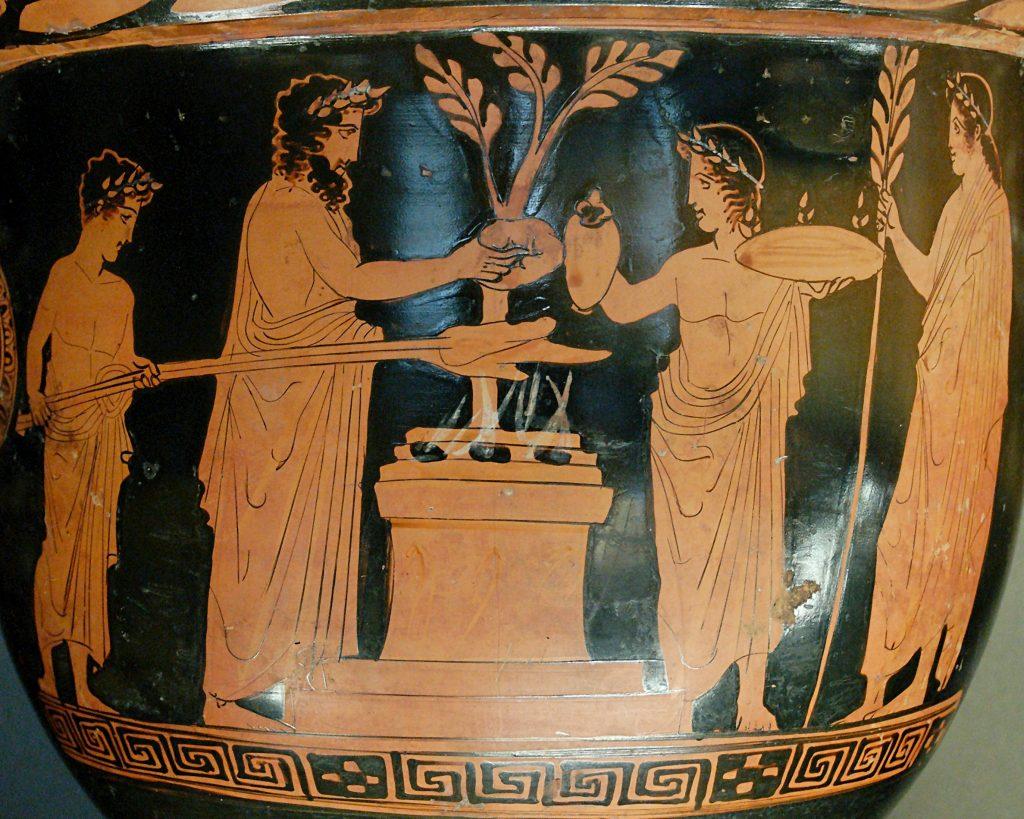 Кантарос с релефна украса с Дионис и Зевс, погребан със собственика си. Пловдивски Археологически музей