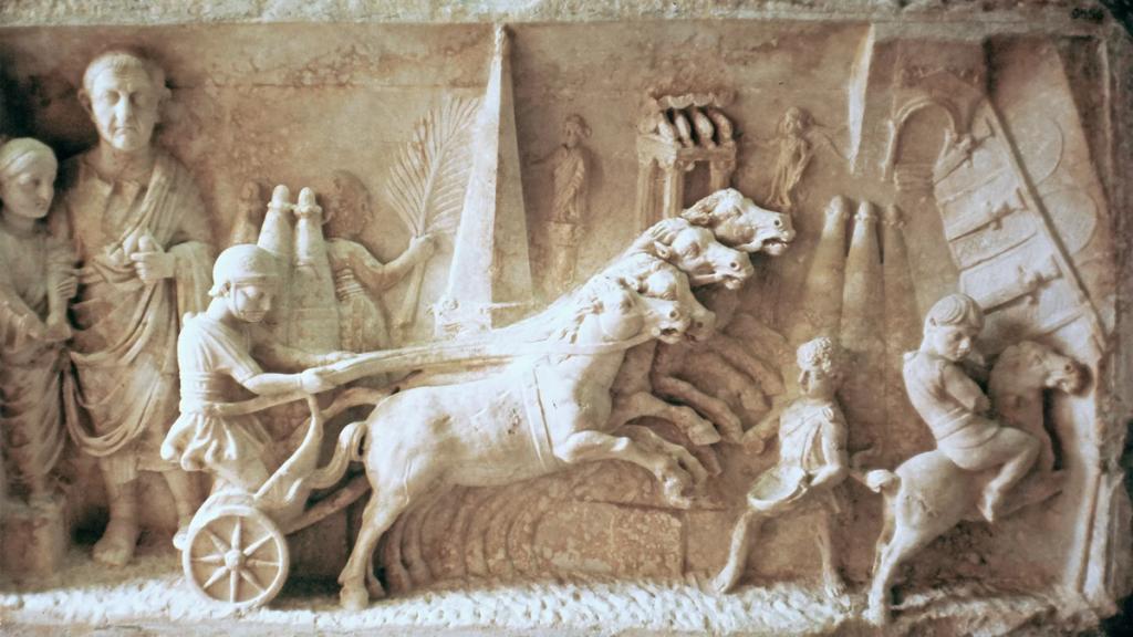 Декорация за колесница от западния некропол с Херакъл, Каракала и слон. Пловдивски Археологически музей
