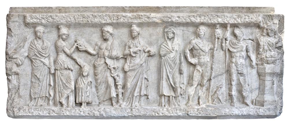 Релефът на здравеносните божества е открит при Източната порта, храмът им вероятно е бил наблизо. Пловдивски Археологически музей